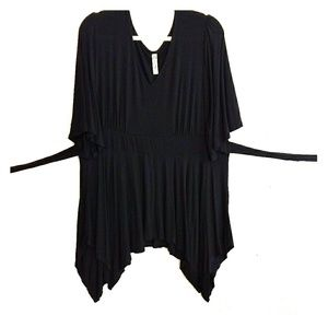 Black knit wide sleeve witchy belted tunic top